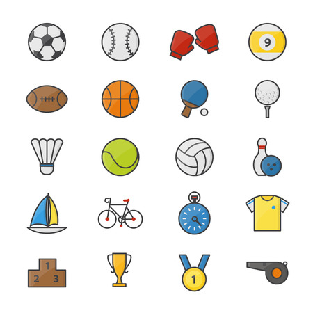 Sport Color Icons Set Of Vector Illustration