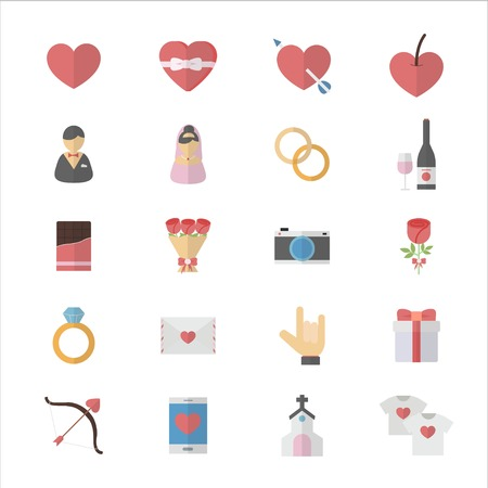 Flat Color Icons Design Set of Love Valentines and Wedding Icons. Illustration