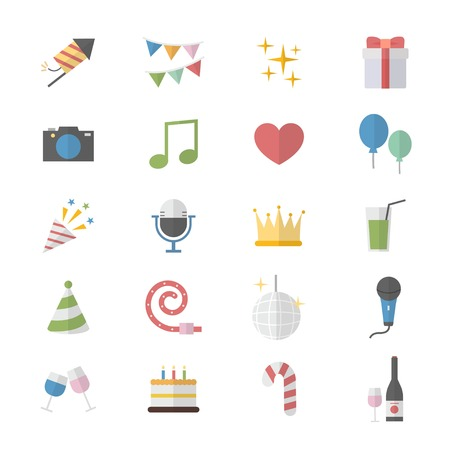Flat Color Icons Design Set of Party Celebration Icons. Illustration