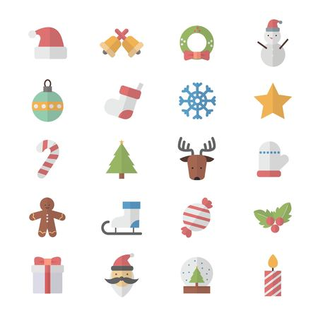 Flat Color Icons Design Set of Christmas Icons. Illustration