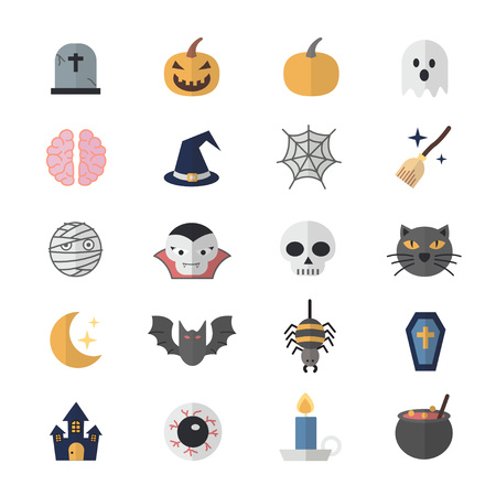 Flat Color Icons Design Set of Halloween. 일러스트