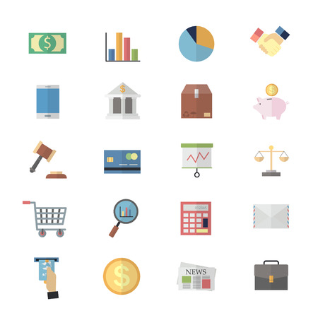 Flat Color Icons Design for Business Management of Finance Objects Office and Marketing Items Icons. Illustration