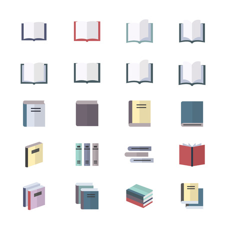 videobook: Book Icons Set Of Stationery Icons Vector Illustration Style Colorful Flat Icons Illustration