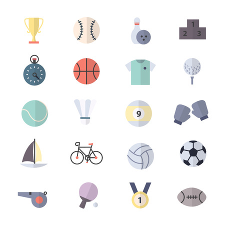 Sport Icons Set Of Vector Illustration Style Colorful Flat Icons