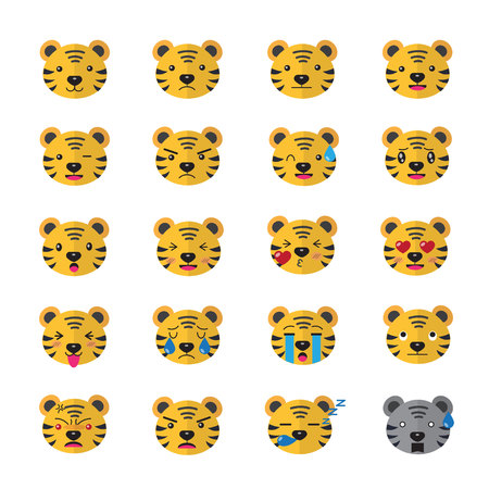 to laugh: Tiger Emojis Set of Emoticons Isolated Vector Illustration On White Background Illustration