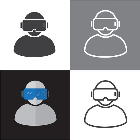 VR Vector Icons and Virtual Reality Glasses