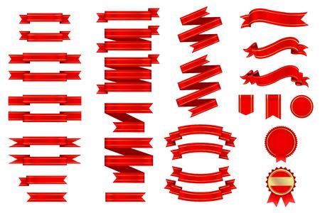 Linten Banner en Etiketten Retro Rode Goud Gradient Mesh Vector Stock Illustratie