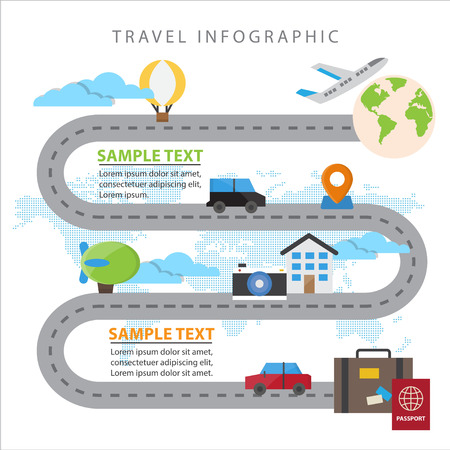 Colourful Travel Infographic Elements and Transportation The Concept For Business