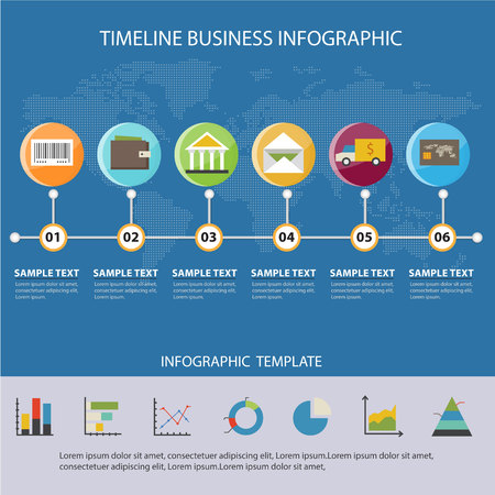 Colorful Timeline Business Infographic and Presentations Advertising Design Flat Style