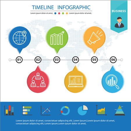 Colorful Business Timeline  Infographic and Presentations Advertising Design Flat Style