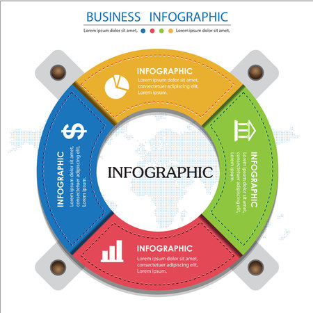 Colorful Business  Infographic and Presentations Advertising Design Flat Style