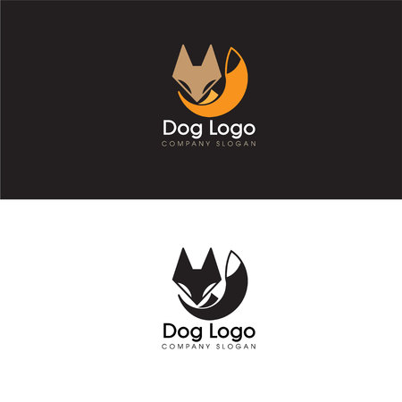Abstract Dog Logo Design Elements and Fox Icon Logo