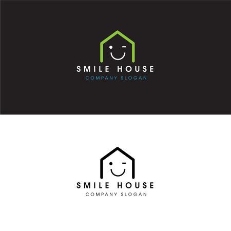 Abstract Smile House Logo Real Estate Design Elementen en Home Icon Stock Illustratie