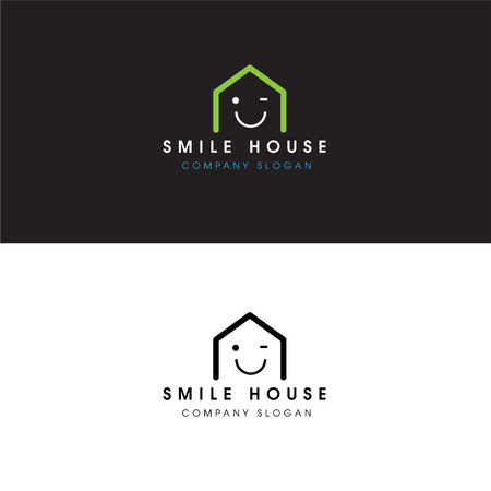 Abstract Smile House Logo Real Estate Design Elements and Home Icon
