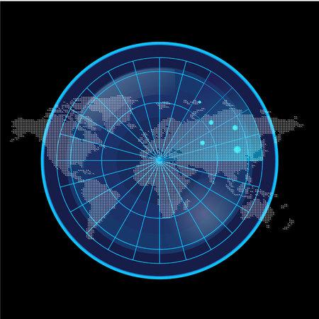 blip: Digital Blue Radar Screen and World Map on Black Background