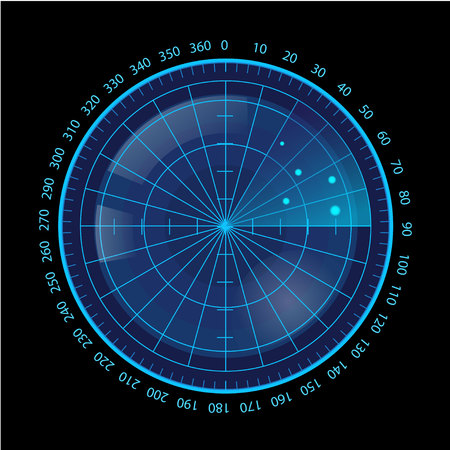 Digital Blue Radar Screen on Black Background