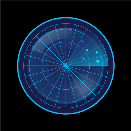 Blue Radar Screen on Black Background