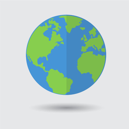 Flat Blue Green Earth Planet Icon Vector Illustration Flat Design for Web Banner, Web and Mobile, Info graphics Illustration