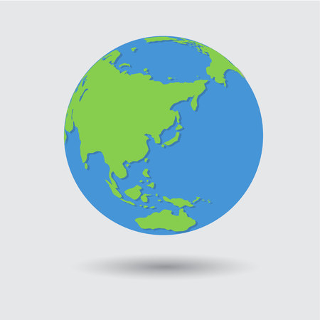 Flat Blue Green Earth Planet Icon Vector Illustration