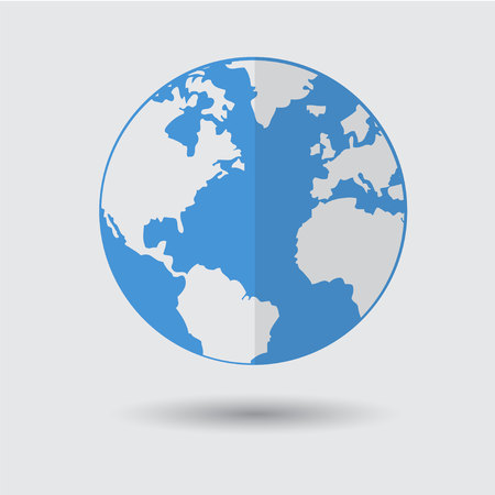 Flat Blue Earth Planet Icon Vector Illustration Flat Design for Web Banner, Web and Mobile, Infographics