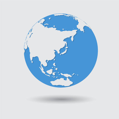 Flat Blue Earth Planet Icon Vector Illustration Illustration
