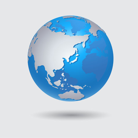 Blue Earth Planet Icon Vector Illustration
