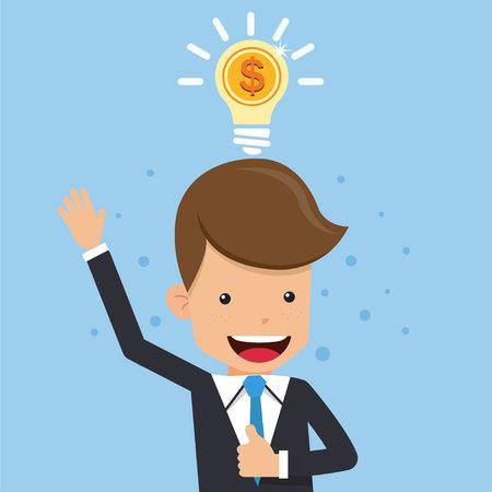 Businessman in Suit Thinking Money. Light Bulb Concept Business Vector Illustration Flat Style. Ilustração
