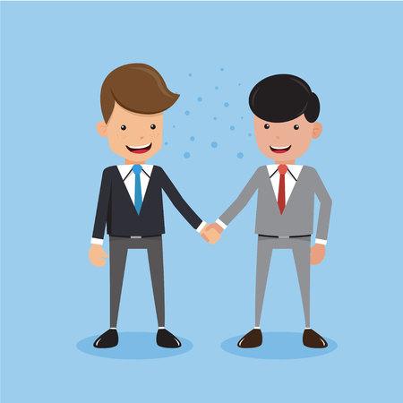 Two Businessman in Suit Handshake Deal Partnership. Concept Business Vector Illustration Flat Style. Illustration