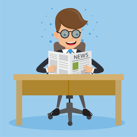 business news: Businessman in Suit Wear Glasses and Reading News Paper Sitting In a Chair at The Table. Concept business vector Illustration Flat Style. Illustration