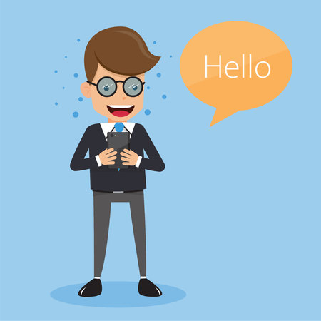 Businessman in Suit Sending Message with Mobile Phone . Concept business vector illustration Flat Style. Illustration