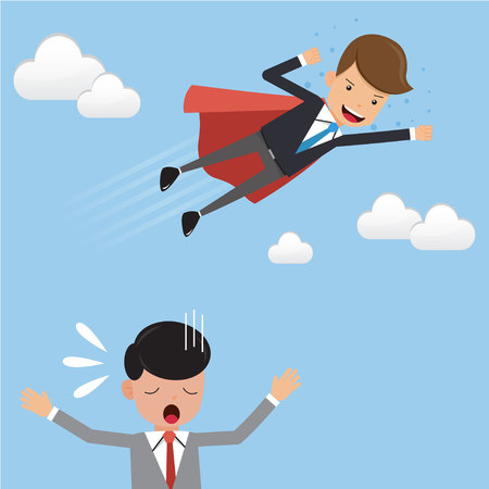 Businessman Superhero in Suit Fly Over His Competitor. Concept business vector illustration Flat Style.