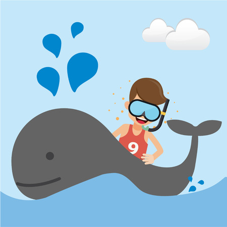 Young Man with Snorkeling and Whale in the Sea. Concept Travel Vector Illustration Flat Style.