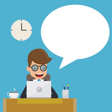 Zakenman in pak werken met computer op tafel in het kantoor en de tekstballon. Concept zakelijke vectorillustratie vlakke stijl. Stock Illustratie