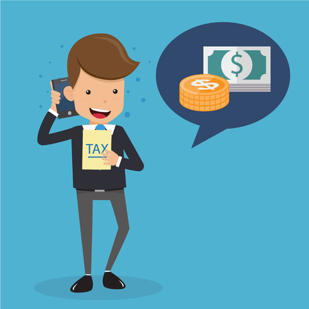tax accountant: Businessman in Suit Talking about Money on the Mobile Phone and Tax in Hand. Business and Finance Concept, Vector Illustration Flat Style.