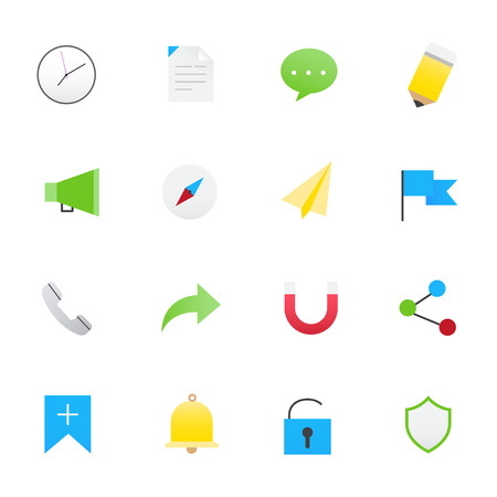 Internet and Website  Icons. Vector Illustration Icons Flat Style.