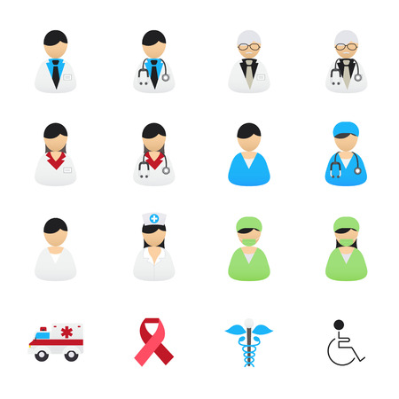 Doctor and Nurse Healthcare Professionals Icons. Set of Health and Medical Icons. Vector Illustration Color Icons Flat Style. Çizim