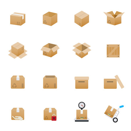 moving box: Box and Package Icons. Set of Transportation Vector Illustration Color Icons Flat Style. Illustration