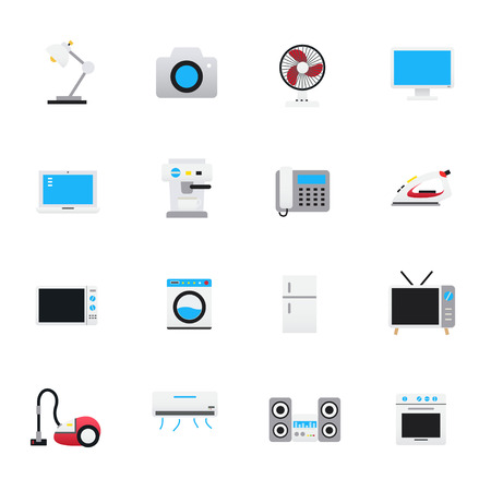 Household Appliances Icons. Set of Electronic Devices Vector Illustration Color Icons Flat Style.