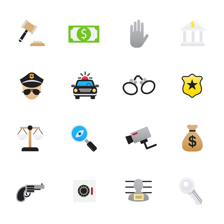 scale of justice: Police Icons. Set of Law and Justice Vector Illustration Color Icons Flat Style.