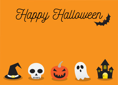 Happy Halloween and Orange Background Vector Illustration Stock Vector - 87846636