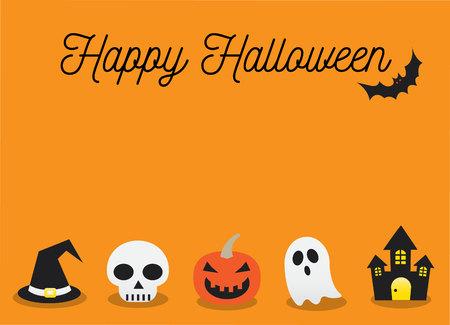 Happy Halloween and Orange Background Vector Illustration
