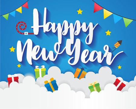 diseño de tarjeta de feliz año nuevo . Ilustración de vector