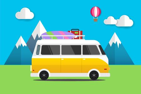 Yellow Mini van With Surfboard and Suitcases Summer Travel to Nature Mountain Balloon on the Sky Illustration Vector.