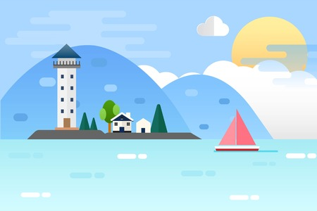 Light house and Nature Sea Landscape. Vector Illustration Flat Design Background Çizim