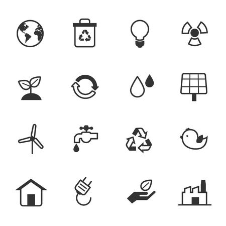 Eco Energy and Environment Icons Set Vector