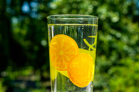 glass of tap water in hot summer, close-up of greenery in background, orange and lemon motives