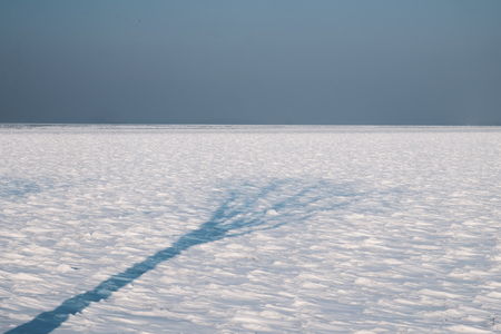 frozen lake Balaton, sharp horizon line and shadow of tree on the ice