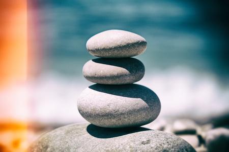 stack of pebbles balance harmony  - ocean, sea beach, vintage style