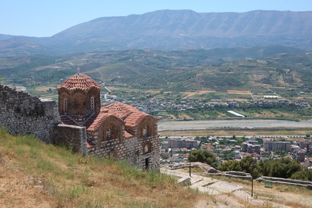 Medieval orthodox church on hill at Berat city, Albania Imagens