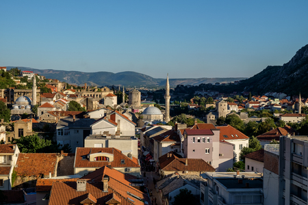 mostar city view, medieval, mosques Imagens